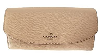 Coach Crossgrain Leather Small Envelope Wallet w Removable Pouch 52628 Apricot