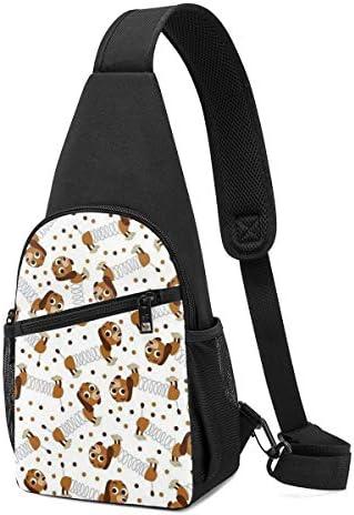 可愛い犬 斜め掛け ボディ肩掛け ショルダーバッグ ワンショルダーバッグ メンズ 多機能レジャーバックパック 軽量 大容量