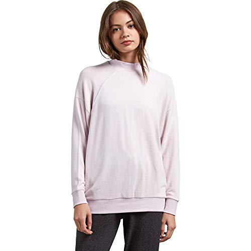 (Volcom Junior's Lil Mock Long Sleeve Crew Neck Sweatshirt, Light Purple, Extra Small)