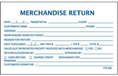 Centurion 773432 5.3 x 3.3 in Merchandise Return Form 100 ct.