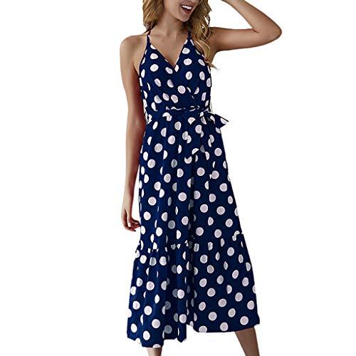 HIRIRI Women's Polka Dot Dress Summer Bohemian Spaghetti Strap A-Line Beach Split Maxi Dress with Belt Blue