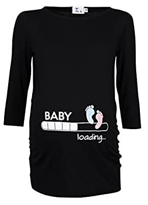 Happy Mama. Womans Maternity Baby Loading Feet Funny Print T-shirt Top. 549p