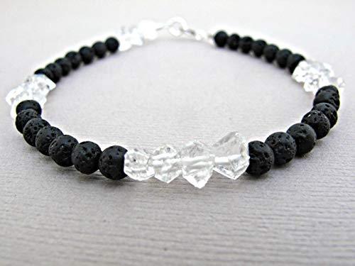 - Herkimer Diamond Bracelet, Quartz Bracelet, Diffuser bracelet, Essential oil bracelet, Diffuser jewelry, Aromatherapy bracelet, Natural bracelet, Gemstone Bracelet, Gemstone Jewelry, Silver Size 8.0