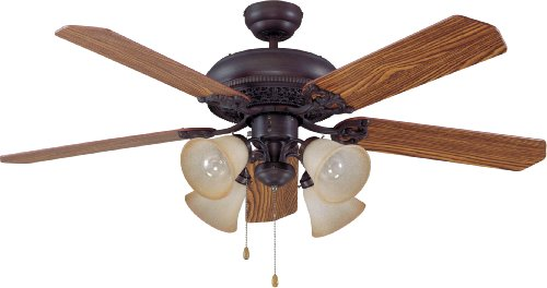 "Craftmade MAN52ABZ5C4 Manor Dual Mount 52"" Ceiling Fan with 160 Watts Light Kit, 5 Plywood Blades, Aged Bronze"
