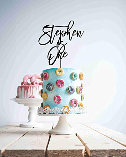 - Cheyan Custom Is One First Birthday 1St Personalised Cake Wood Acrylic Is Age Name Wedding Cake Toppers Letters Funny Wedding Anniversary Cake Topper Party Event Decorations