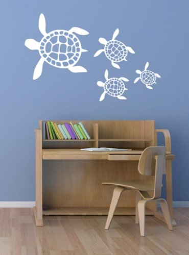 Sea Turtle Scene Vinyl Wall Decal, Ocean Decals, Nautical Decor, Beach Decor, Turtle Wall Stickers, Sea Decals, Marine Decals, PLUS FREE 12