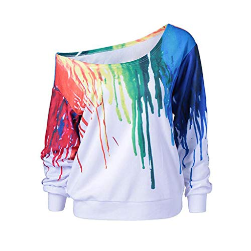 Sweatshirt,Toimoth Women Casual Loose Long Sleeve Rainbow Print Pullover Blouse Shirts (XXL, Whited)