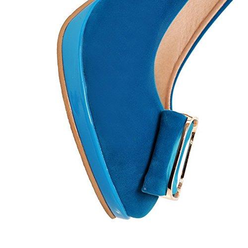 AgooLar Mujeres Sintético Sólido Hebilla Puntera en Punta Tacón de aguja Sandalia Azul