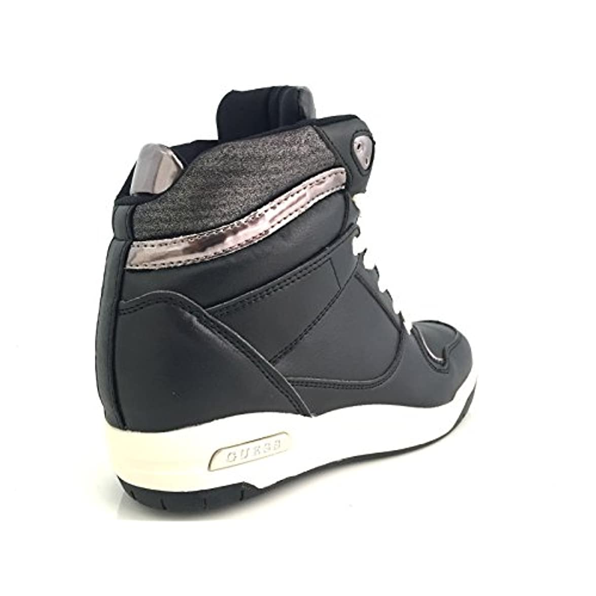 Guess Scarpe Donna Sneaker Alta Zeppa 60 Pelle Nera Mod Jadrin D16gu06
