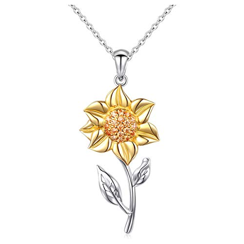 (S925 Sterling Silver Gold Plated Sunflower with CZ Sunshine Pendant Necklace for Women 18