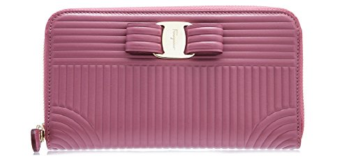Salvatore Ferragamo Quilted Vara Long Zip Around Wallet (One Size, Griotte) by Salvatore Ferragamo