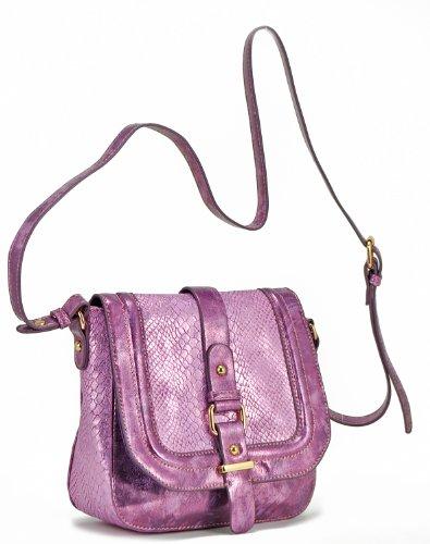 Bianco Melie Messenger (Melie Bianco Women's Jewel Metallic Snake Messenger Flap Bag, Purple, One size)