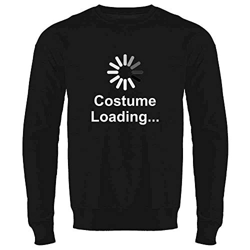 Pop Threads Costume Loading Funny Halloween Black L Mens Fleece Crew -