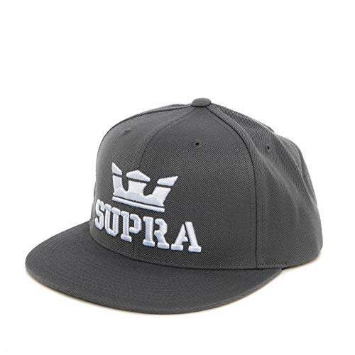 (Supra Men's Above Snapback Adjustable Hats,One Size,Charcoal/White-White)