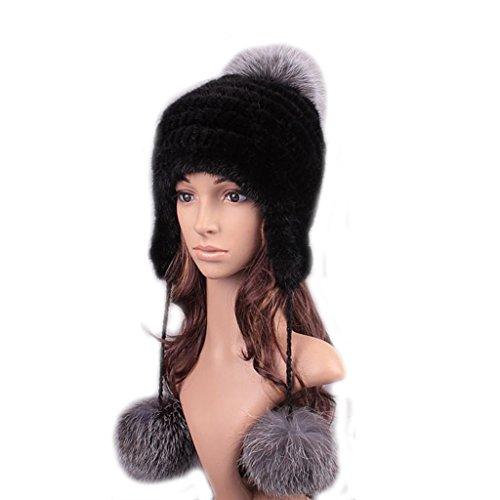 UK.GREIFF Womens Trendy Warm Stretch Mink Fur Winter Cap (New Mink Fur Headband)