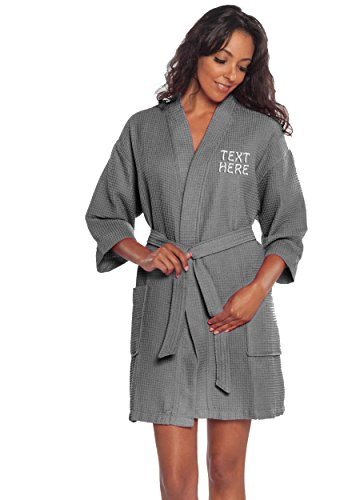 Personalized Embroidered Robes – Custom Waffle Kimono Robe – Monogrammed Bathrobes -