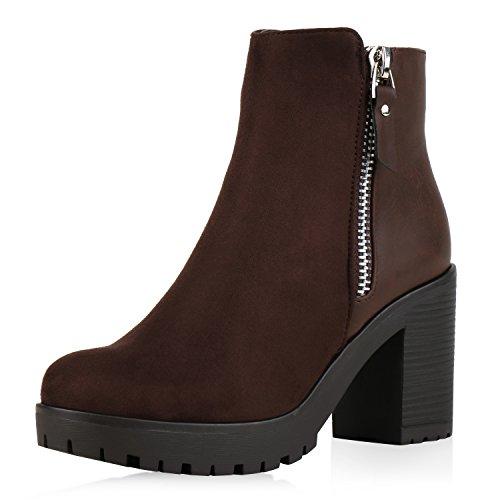 napoli-fashion Damen Stiefeletten Chelsea Boots Blockabsatz Profilsohle Schuhe Jennika Braun