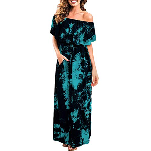 KYLEON Women Boho Maxi Long Dress Off The Shoulder Ruffle Casual Floral Tie Dye Split Lady Party Beach Sundress Loose ()
