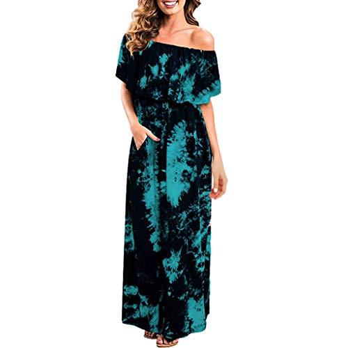 Wintialy Women Dress, Women Summer Sxy Cold Off Shoulder Ruffle Party Tie Dye Split Maxi Long Dress Light ()