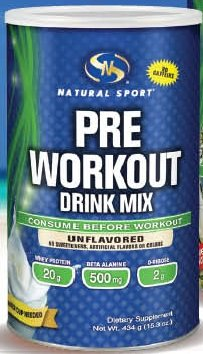 Pre Workout Drink Mix (Unflavored) Natural Sport 434 g Powder by Natural Sport
