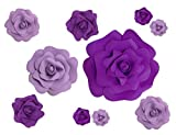 Jing-Rise A Combination of 10pcs Mixed Sizes Large Stereoscopic Foam Roses for Wedding Home Shop Window Studio Decoration (Purple and Light Purple)