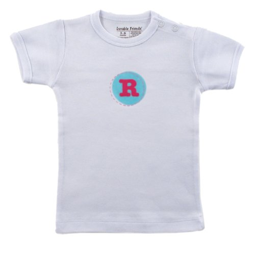 Hudson Baby Personalized Initial Tee Top   R, Girl, Pink