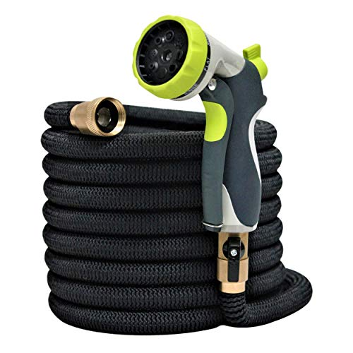 [New 2018] 50ft Garden Hose – Expandable & Retractable Upgraded Water Hose Pipe – Double Latex Core – ¾ Solid Brass Fittings – Extra Strength Flexible Expanding Fabric – 8 Function Metal Spray Nozzle
