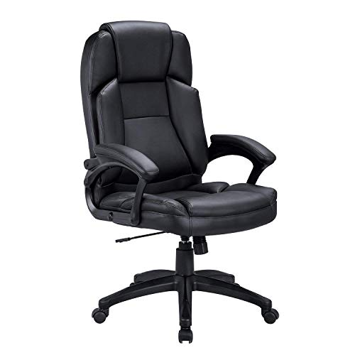 Ultimate Leather Executive Chair - LCH High Back Executive Office Chair with Adjustable Tilt Angle - PU Leather Computer Desk Chair with Thick Padding for Comfort and Ergonomic Design for Lumbar Support 400 LBS(Black 01)