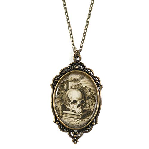 Project Pinup Librarian Skull 30x40mm Brass Filigree Necklace on 18