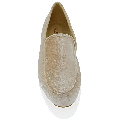 Essex Glam Mocassini Da Donna Slip On Casual Pumps Shoes Nude Velluto