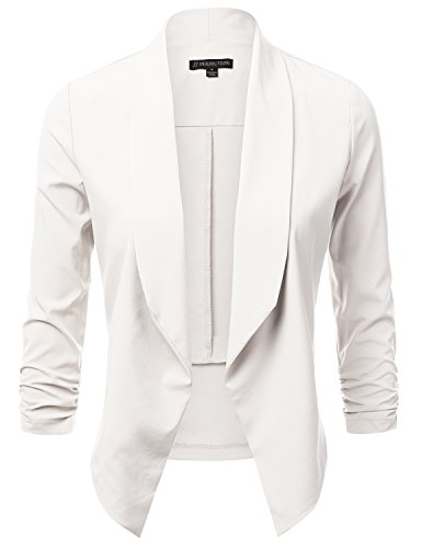 JJ Perfection Women's Lightweight Chiffon Ruched Sleeve Open-Front Blazer OFFWHITE M