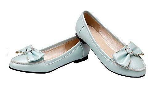 Allhqfashion Womens Pu Pull-on Tacco A Spillo Tacco Basso Tacco Alto Scarpe Blu