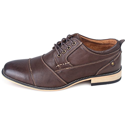 Kunsto Mens Leather Cap Toe Oxford Shoes Dark Brown kg3dbe