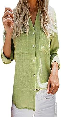 Xinantime Camisas de Manga Larga Mujer, Camisa de Lino de Algodón Casual para Mujer Blusas Mujer Primavera 2020 Botones De Mujer con Cuello En V BotóN De Camiseta De Manga Larga Tops:
