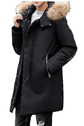 Zipper Coat Men's Hooded Warm Outerwear Puffer Black security Thicken Jacket xaHqnwgWY