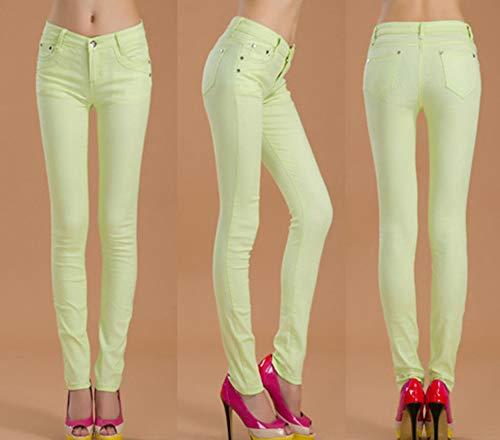 Casual Leggings Verde Pantaloni Skinny Jeans Chiaro Donna Snone Autunno Slim Trend Sottili Corti Matita Elasticità Stile Lunghi A vqRnpqw5aP