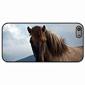 iPhone 5 5S Black Hardshell Case horse mane Desin Images Protector Back Cover