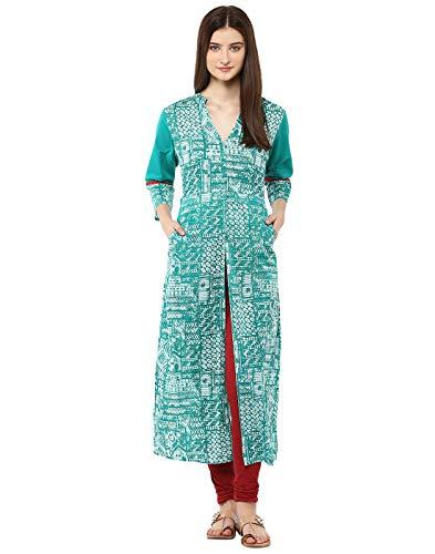Jaipur Kurti Cotton Turquoise Green Geometric Print Kurta Casual Tunic (Medium)