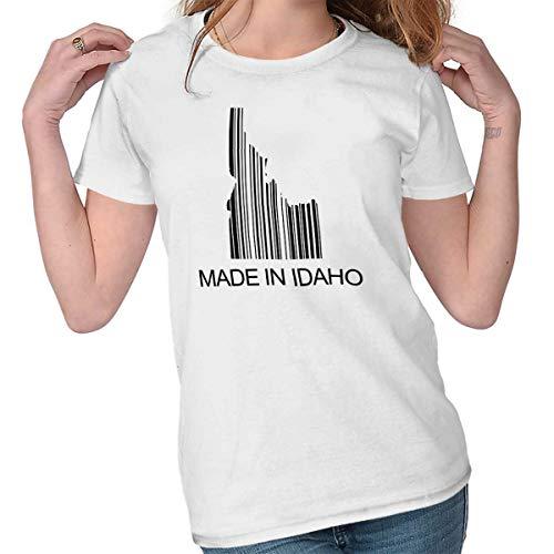 Made in Idaho Bar Code Hometown Souvenir ID Ladies T Shirt White (Shop The Bar Idaho Falls)