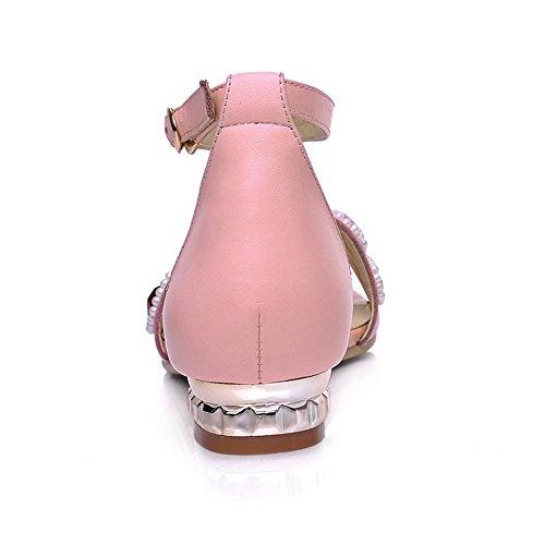 Amoonyfashion Donna Open-toe Tacco Basso Sandali Con Fibbia Borchiati In Materiale Rosa