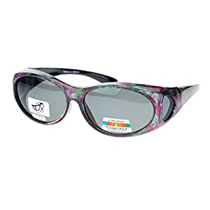 Womens Glare Blocking Polarized Lens 60mm Fit Over Oval Sunglasses Floral