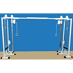 "Mega Cross over Gym 84"" high, 11 adjustable Swinging front Pulley mount Great for High Pulls, Pulldowns, Tricep Pushdowns, Crossovers, Rear Deltoid Pulls, Upright Rows, Seated Rows, Bicep Curls & More"