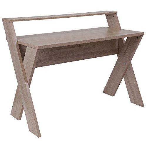Flash Furniture Glenview Sonoma Oak Wood Grain Finish Computer Desk with - Hutch Oak Sonoma