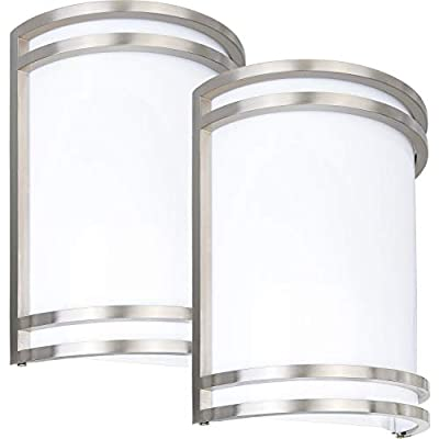 Hykolity LED Wall Sconce, Brushed Nickel 12W Wall Mount Light Fixture, Outdoor LED Wall Lighting for Residential 4000K Nature White, Dimmable, 75W Incandescent Equivalent ETL Listed - 2 Pack