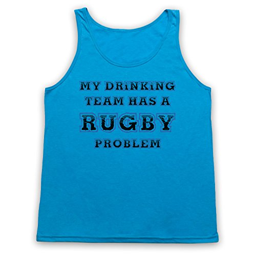 My Drinking Team Has A Rugby Problem Funny Rugby Slogan Tank-Top Weste, Neon Blau, Small