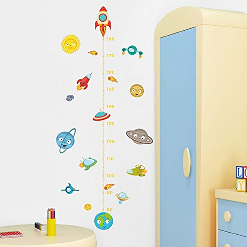 Solar System Rocket Height Measure Wall Stickers Kids Nusery Rooms Outer Space Sky Poster Growth Chart PVC Mural Decor Wall UNKNOWN