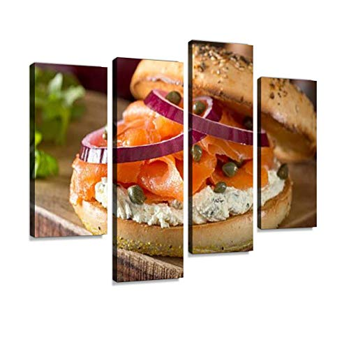 Toasted Bagel with Smoked Salmon and Cream Cheese Canvas Wall Art Hanging Paintings Modern Artwork Abstract Picture Prints Home Decoration Gift Unique Designed Framed 4 Panel