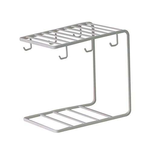 TY&WJ Professional mug tree and kitchen roll holder Coffee cup Hook Drain rack Display Cup storage Multifunction Stable Sturdy White Black Storage shelf-White