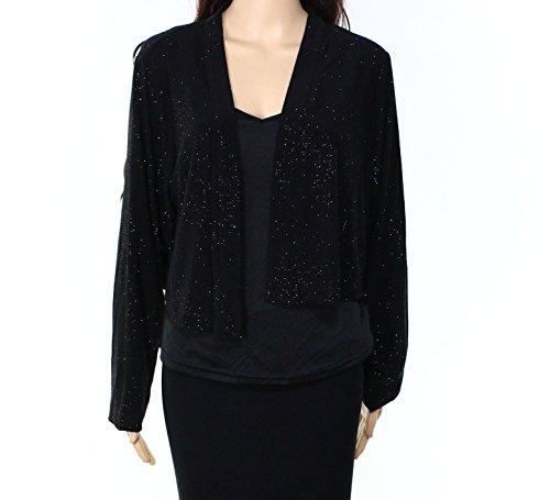 Shimmer Calvin Klein (Calvin Klein Women's Plus Size Shimmer Long Sleeve Shrug, Black 16, 1X)