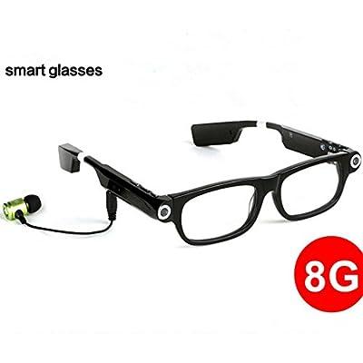Aamina Smart App Enabled Eyeglasses Sleepy To Remind Bluetooth Camera LED Lighting 8GB/Bluetooth 4.0/720P/Android,iOS,WindowsMobile,Symbian,Blackberry Platform,Black/Glasses